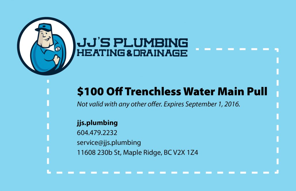 JJ's Plumbing $100 off trenchless water main pull